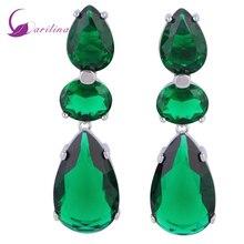 Distinctive Green Cubic Zirconia 925 Sterling Silver Overlay dangle earrings fashion jewelry E415