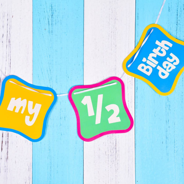 15m Shimmering 1 2 Birthday Banner Half Decorations 6 Months Old Photo