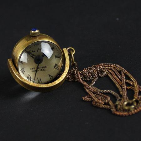 Rome Antique Manual Chain Pocket Watch Back Hollow