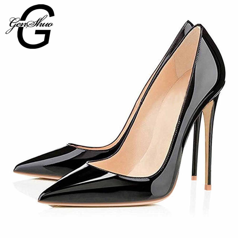 5f747e911 ... GENSHUO de mujer de tacón alto bombas de oficina negro zapatos de punta  de cuero de ...