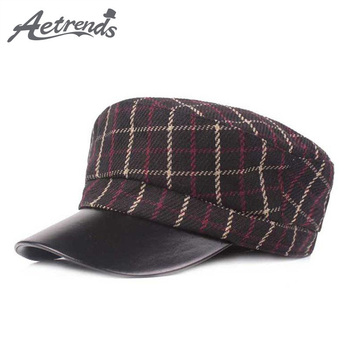 [AETRENDS] 2018 New Classic Plaid Military Hat Army Cap Flat Hats for Men Women German Style Captain Hat Gorra Militar Z-6671