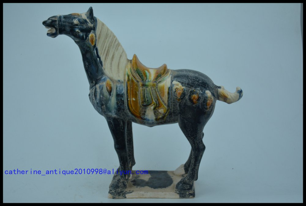 Collectable Qing Dynasty Chinese Pottery *Horse Three Color *San Cai*,blue glaze,Sky shouts,free shippingCollectable Qing Dynasty Chinese Pottery *Horse Three Color *San Cai*,blue glaze,Sky shouts,free shipping