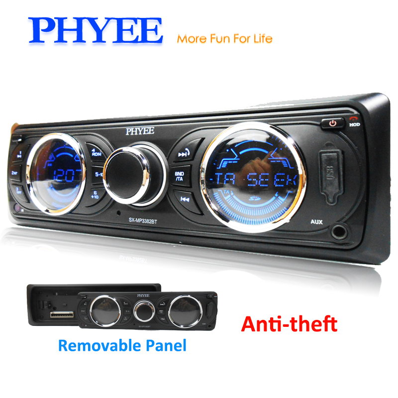 1 Din Car radio RDS Bluetooth Stereo FM AM Receiver Removable Panel Audio MP3 Player 12V ISO In-dash Head Unit PHYEE SX-MP3382BT