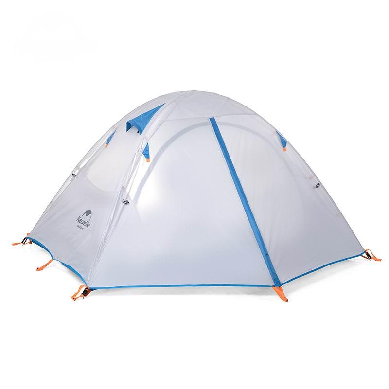 Professionnel 2 personnes Double couche famille tente aluminium tige Anti-UV Double porte 3 personnes tentes pluie pour Camping Trekking plage