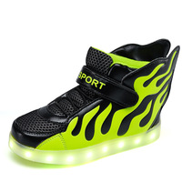 Hot 2017 Children Shoes with Light Up USB Charging Fashion Flame Wings Luminous Glowing Kids LED Shoes Boys Girls Sport Sneakers
