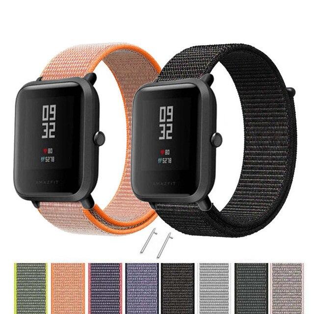 22mm 20mm banda de nailon para Xiaomi Amazfit Bip Pace Correa muñeca Nylon lazo Velcro accesorios de reloj inteligente pulsera