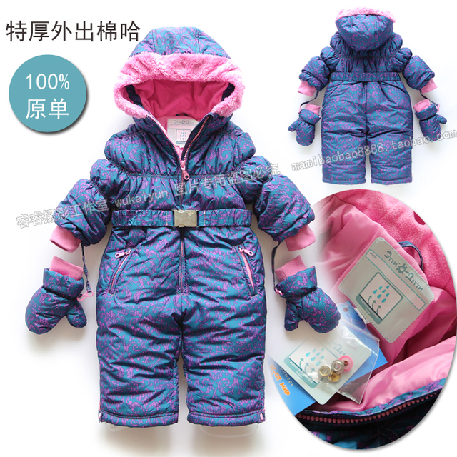 4e3c925a9 new 2016 winter Overalls for children clothing baby girls warm ...