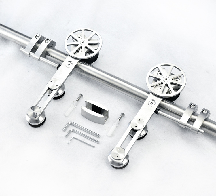 European style high quality stainless steel sliding barn wood door hardware sliding barn track hardware