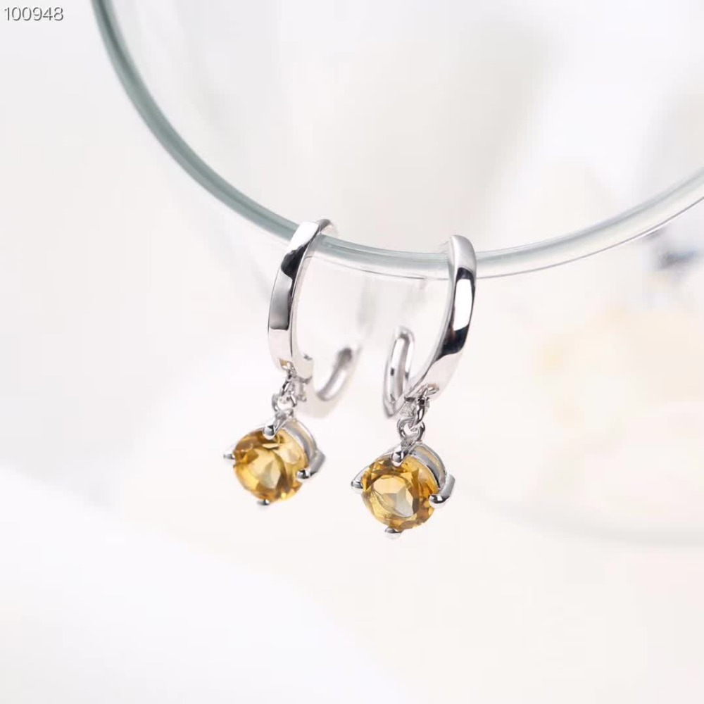 wholesale new designed fancy gemstone jewelry 925 sterling silver natural citrine pendant earrings for women anniversary