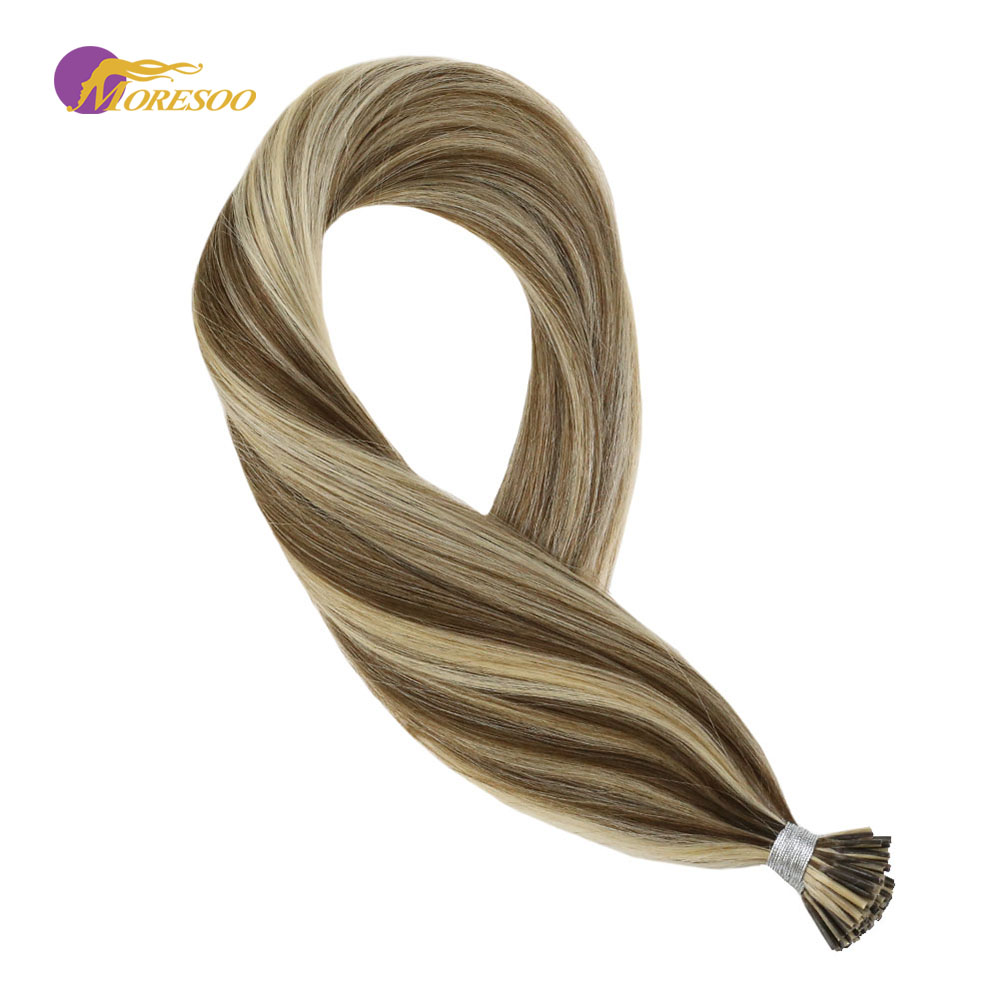 Moresoo I Tip Hair Extensions Ombre Color Brown #8 With Blonde #22 Keratin I Tip Hair Extensions 100 Remy Hair Extensions 40G