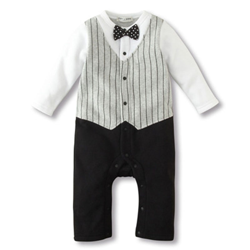 Newborn to 18M Cool Baby Kids Boy Bow Tie Tuxedo Suit Romper Jumpsuit Outfit 18m to 4t baby