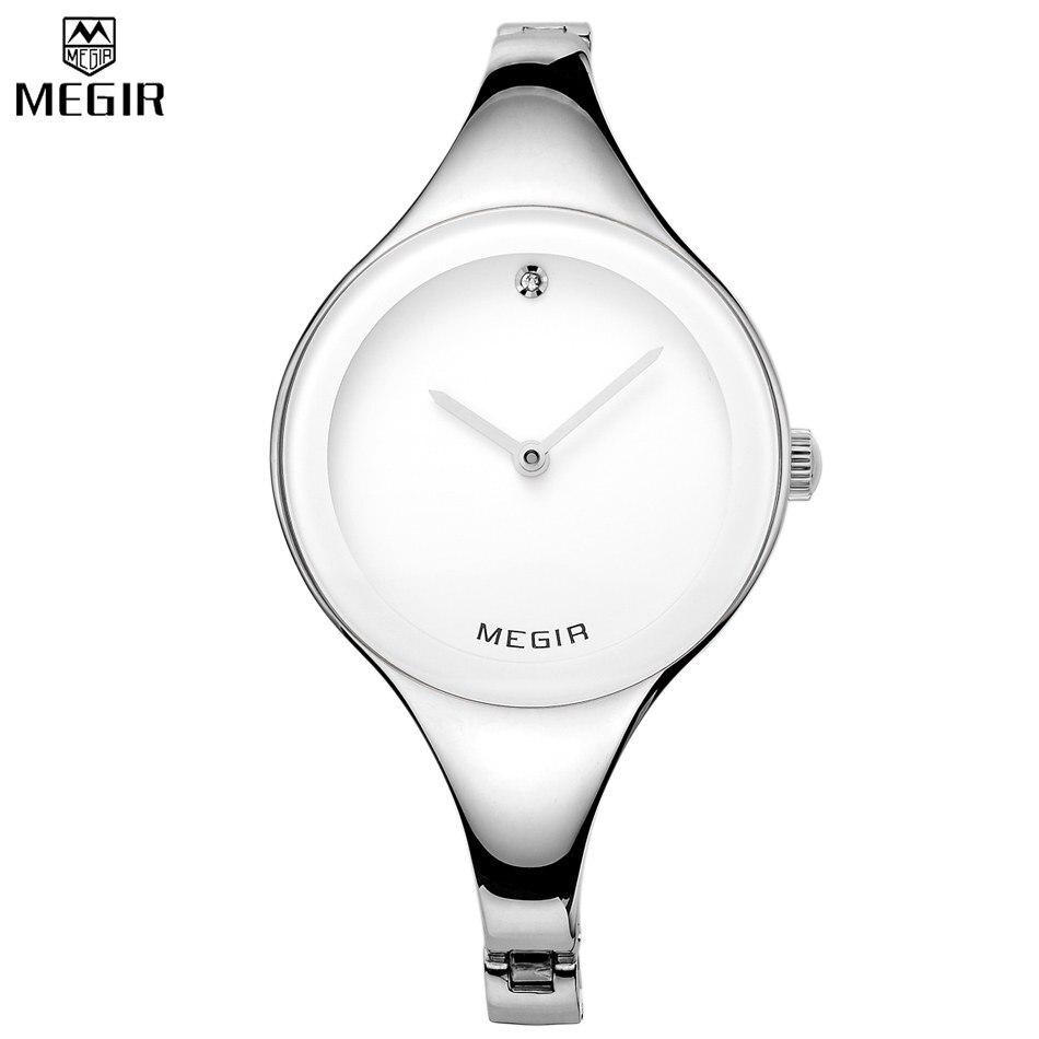 MEGIR Brand Women Waterproof Simple Style Unique Purple Watches Luxury Dress Watches Casual Quartz Bling Wristwatches