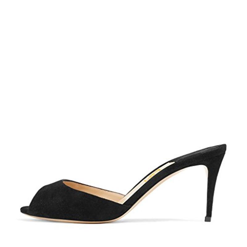 1e18da7dafe FSJ Women Faux Suede High Heel Mules Peep Toe Slip On Casual Sandals  Outside Flock Bule Black Summer Slide Shoes Size 4 15 US -in Slippers from  Shoes on ...