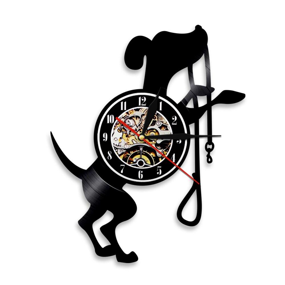 1Piece Cute Dog Vinyl Wall Clock Animal Vintage Led Backlight Modern Handmade Gift For Dog Lover Cool Living Room Interior Decor