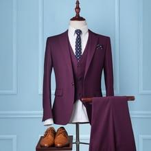 Men Suits Slim Fit Cashmere Groom Tuxedos Brand Fashion Business Dress Wedding Red Suits Blazer 3 Piece Suit (Jacket+Pants+Vest)