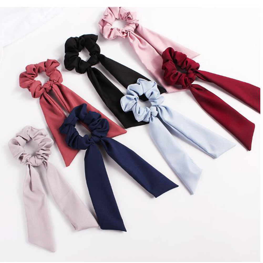 1Pcs Bow Streamers Hair Ring Fashion Ribbon Hair Bands Scrunchies Horsetail Tie Solid Color Headwear Hair Accessories For Girl