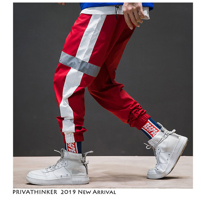Privathinker Side Stripe Track Jogger Pants Men 2020 Reflective Label Track Harem Pants Homme Streetwear Male HipHop 54