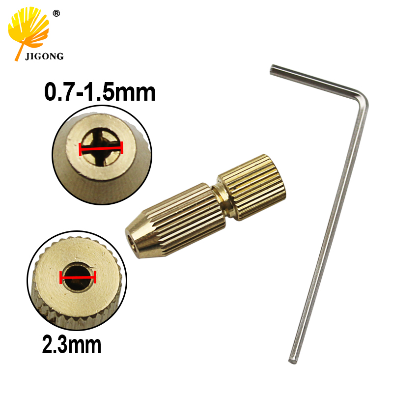2.3mm Brass Electric Motor Shaft Clamp Fixture Chuck Mini Small For 0.7-1.5mm Drill Micro Drill Bit Clamp Fixture Chuck