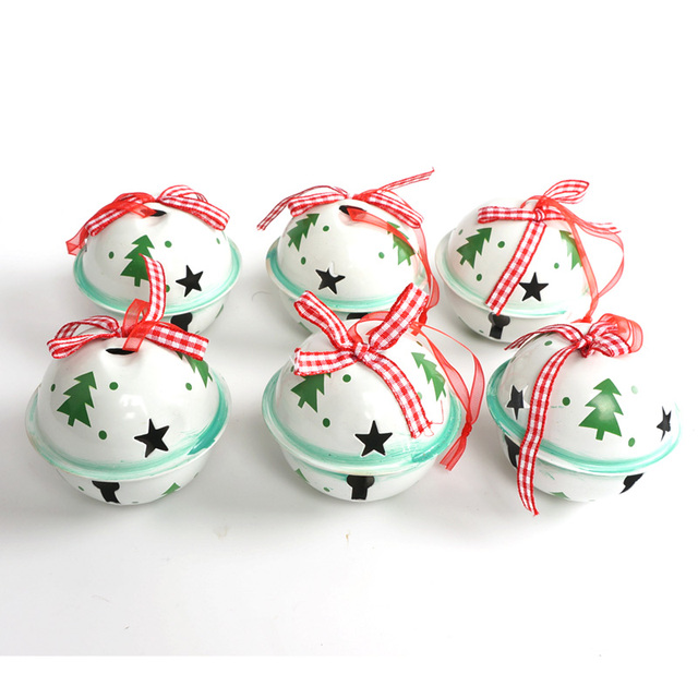 christmas jingle bell 6pcs green white metal tree christmas ornament for home 6560mm large - Metal Christmas Decorations