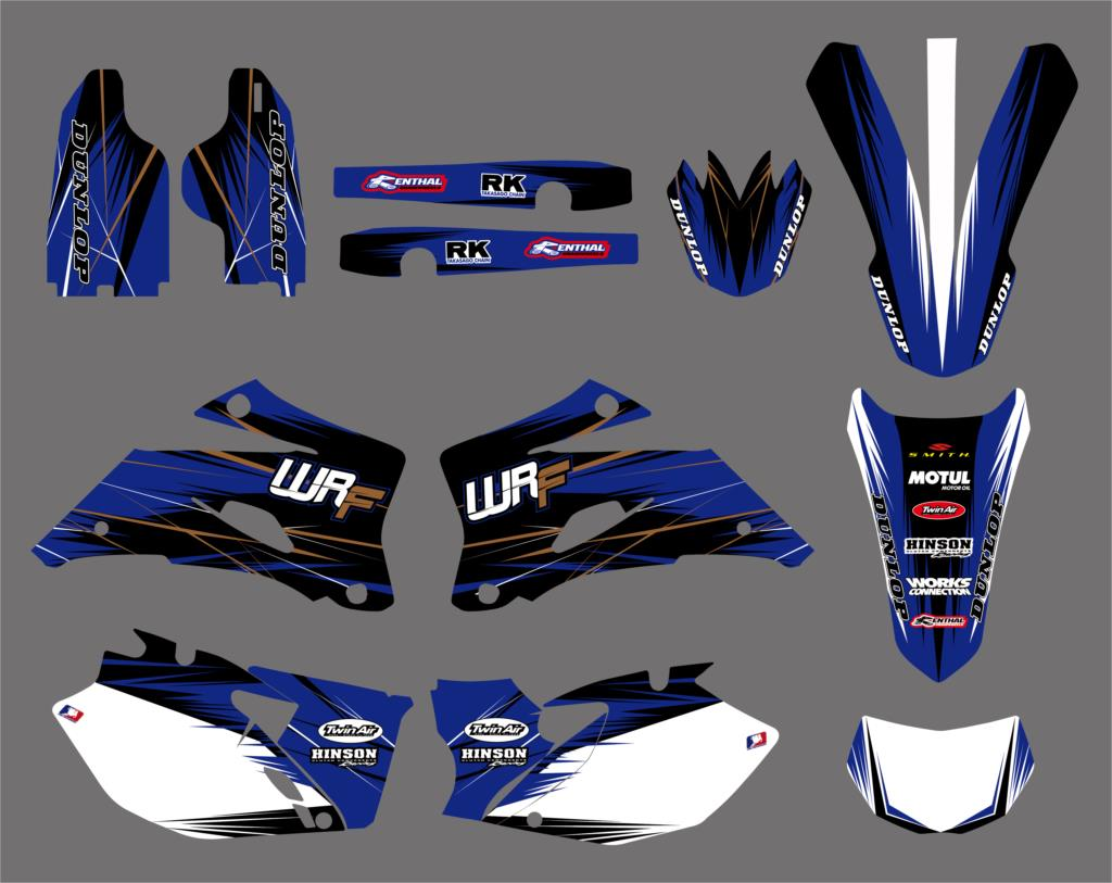 NICECNC Team Background Graphic Decals Kit For Yamaha WR250F 2007-2013 WR450F 2007-2011 WR 250F 450F Front Rear Fender Stickers