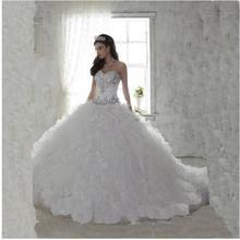 Barato Branco Quinceanera Vestido para 15 anos de menina vestido de Baile Trem Da Capela do Querido Ruffled Quinceanera Vestido customize(China (Mainland))