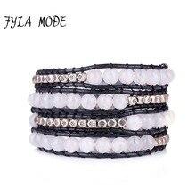 Fyla Mode Exquisite 6MM Natural Stone 4 Layers Leather Wrap Bracelet Wholesale Genuine Leather Bohemian Weaving Bracelet