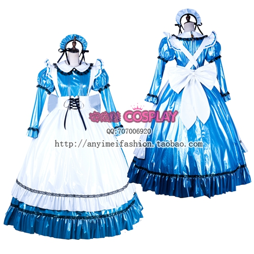 Free Shipping Gothic Lolita Blue  Satin Sissy Maid Dress Cosplay Costume Tailor-made Maid Costume With free petticoat