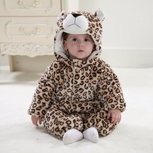 Fashion thick warm infant jumpsuit winter clothing baby toddler girl and baby boy winter rompers