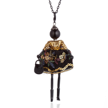 цена на Gold Purple Chinese Embroidered Long Dress Doll Necklaces Black Long Chain Collar Necklace For Women Statement Jewelry Bijoux