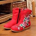 Transpirable Viejo Pekín Estilo Niñas Botines Bordados de Flores Zapatos de Lona Del Otoño Del Resorte Corto Botines Zapatillas