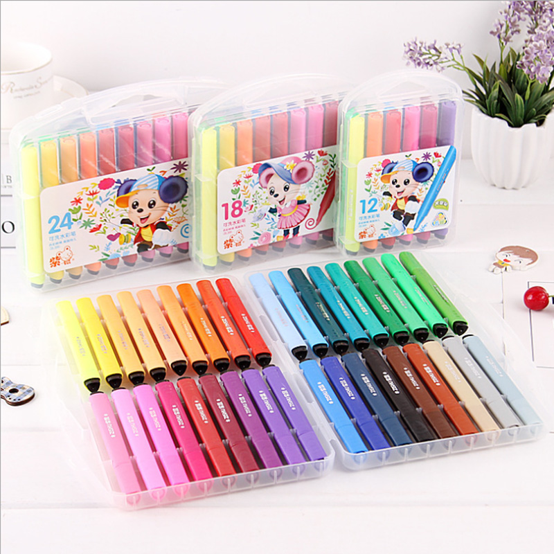 12-color Triangle Brush Children Washable Watercolor Brush Environmental Protection Brush Suit