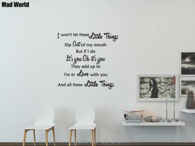 Mad World 1D ONE DIRECTION LITTLE THINGS LYRICS Wall Art Stickers Wall Decal  Home DIY