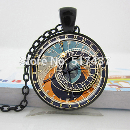 Glass Dome Jewelry,Steampunk Clock Pendant Astronomical Clock Gray Light Blue Peach Cream Zodiac Signs Astronomy Clock Necklace