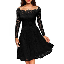 Vintage Floral Lace Dress Women Elegant Long Sleeve