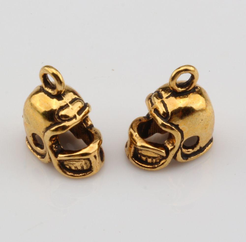 MIC 12 pcs Antique gold 3D Small Football Helmet Charms pendants DIY Jewelry 13 x11mm nm308