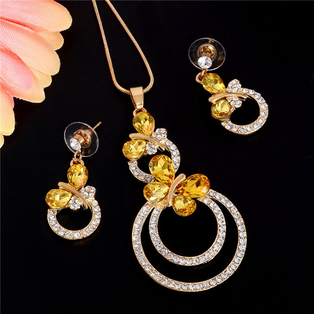 שהסיודוס אלגנטי אופנה חתונת תכשיטי סטי צהוב זהב ריינסטון קריסטל פרפר שרשרת עגילי סטים לנשים מתנות