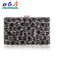 Crystal Hanging Toiletry Bag Women Clutch Purses Gold Clutches Bags Blue Evening Bag Party Silver Wedding Clutch xiyuan brand gold diamond rhinestone purses ladies minaudiere evening clutch bags red crystal party clutches wedding bridal bag