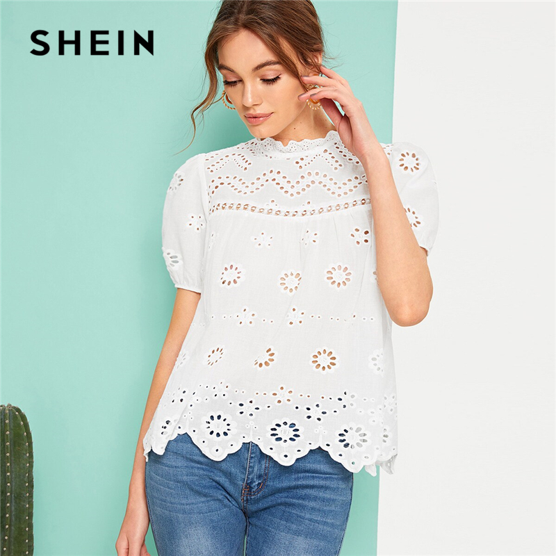 SHEIN Elegant White Puff Sleeve Scallop Edge Schiffy Top Boho Blouse Women Summer Stand Collar Eyelet Embroidery Solid Blouses