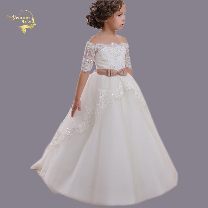 First Communion Dresses For Girl Boat Neck Off The Shoulder Half Sleeves Lace Kids Princess Gown For Weddings Birthday Vestidos