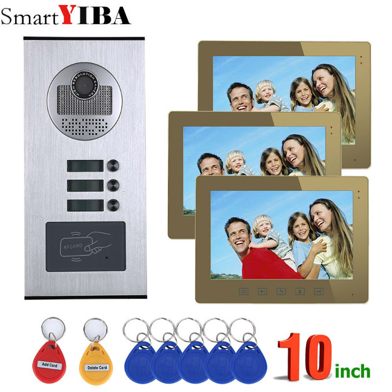 SmartYIBA RFID Access Control Camera Intercom Wired 10Inch Monitor Video Intercom Door Phone Doorbell System For 3 ApartmentSmartYIBA RFID Access Control Camera Intercom Wired 10Inch Monitor Video Intercom Door Phone Doorbell System For 3 Apartment