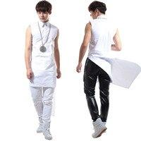Новый стиль Белый ласточкин хвост рубашка без рукавов мужской этап DS костюм партии выступлений одежда
