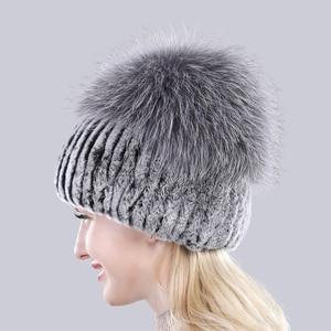 Image 3 - Bonnet en fourrure de renard en argent naturel, chapeaux pour femmes, bonnet en vraie fourrure de Rex, tricoté, à la mode, nouveauté