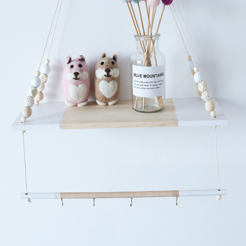 D Ins Nordic Wood Beads Double Layer Wall Shelf With Hooks Baby Room