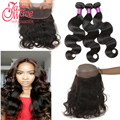 New 8A 360 Lace Frontal With Bundles Unprocessed Brazilian Virgin Hair Body Wave Wet Wavy 360 Lace Frontal Closure With Bundles
