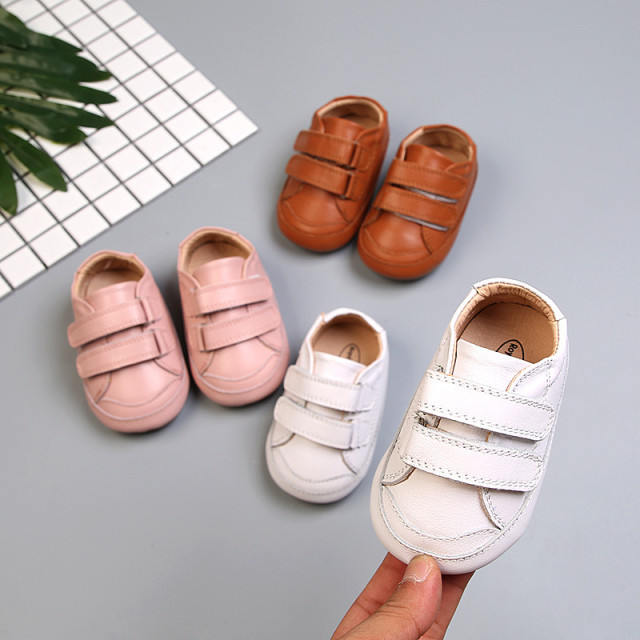 2018 New Full grain leather girls shoes Round toe Toddler Baby boy casual Shoes 2 years white pink kids flats