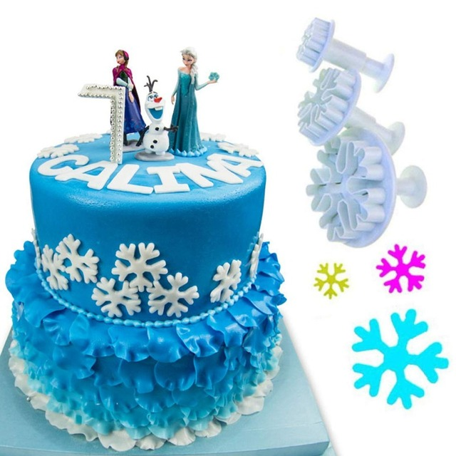 Christmas Snowflake Plunger Mold Cake Decorating Tool Cookie Cutters Fondant Sugarcraft Cutter 03093