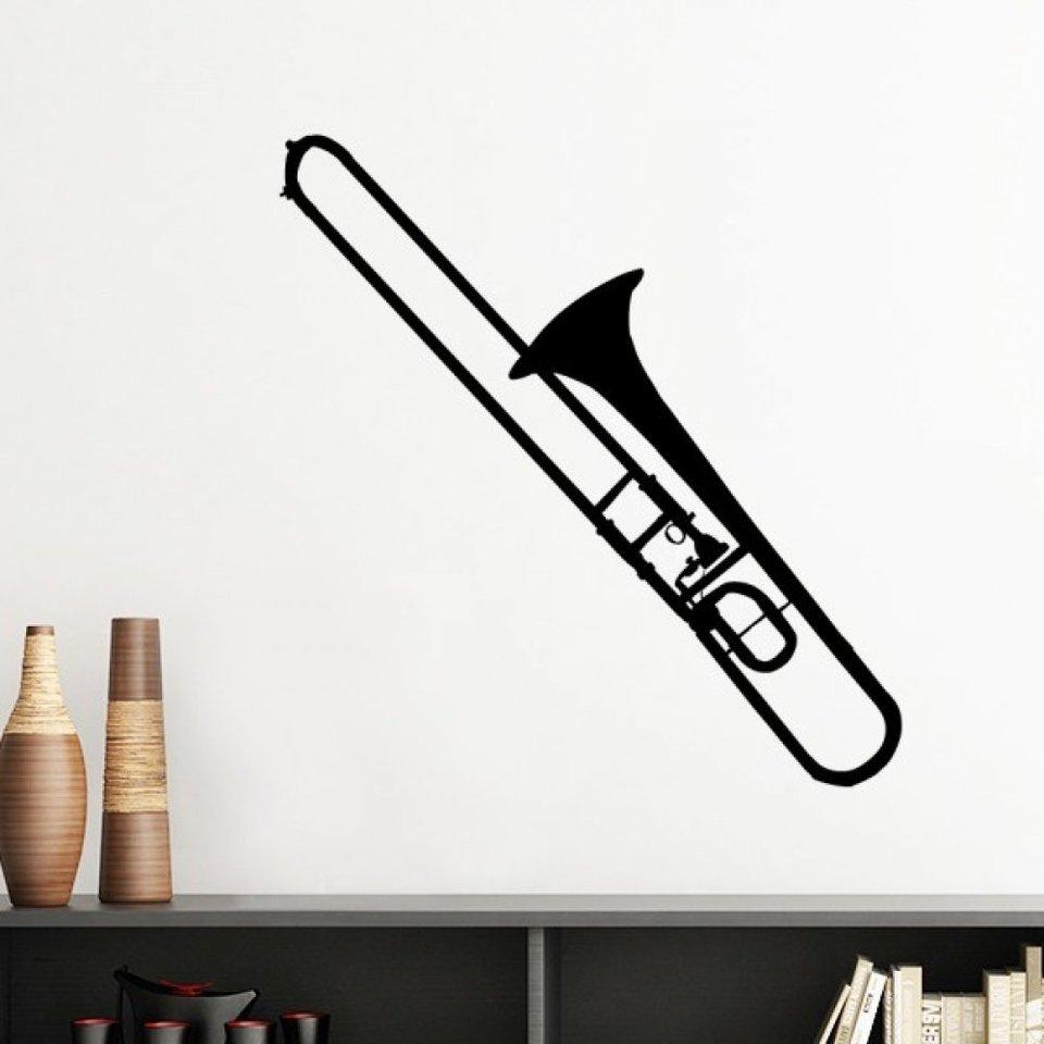 トロンボーンクラシック音楽楽器パターンシルエットリムーバブル壁