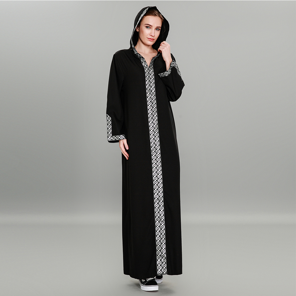 Fashion Women Muslim Dress Plus Size 7XL Black Patchwork Hooded Abaya Dress Sexy Split Turkish Abaya Dubai Hijab Dress