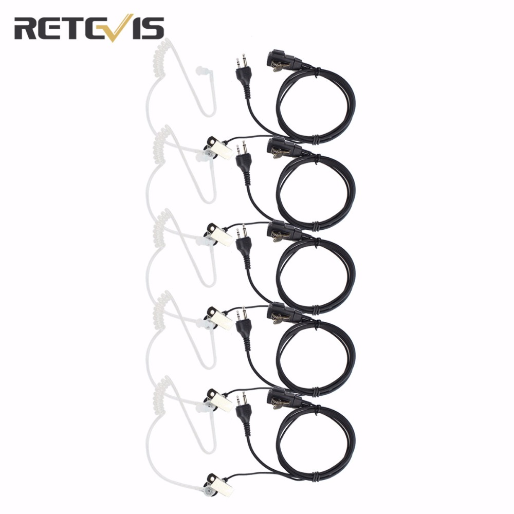 5PCS Retevis 2 Pin Covert Acoustic Tube Earpiece PTT Microphone Headset For MIDLAND G6/G7/G8 GXT550/650 LXT80/112 Radio C9020A