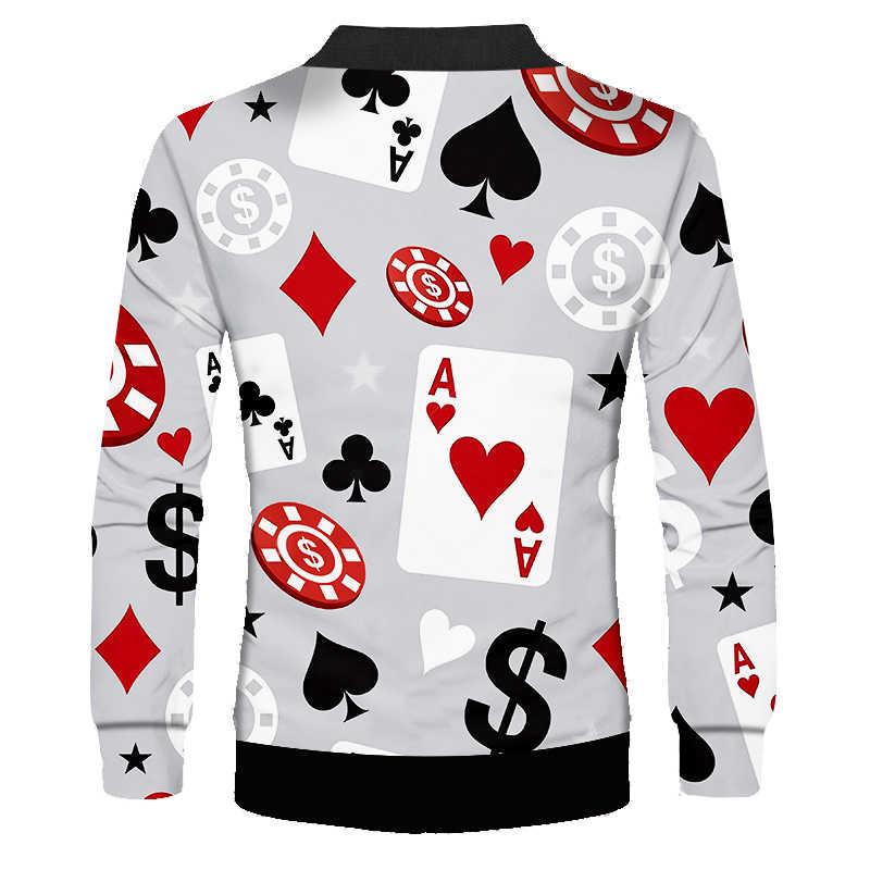OGKB ファッション芸術家気取りミニマ古典 3d プリントポーカーゲームジャケットの男の服因果クールコート長袖生き抜く Streetswear